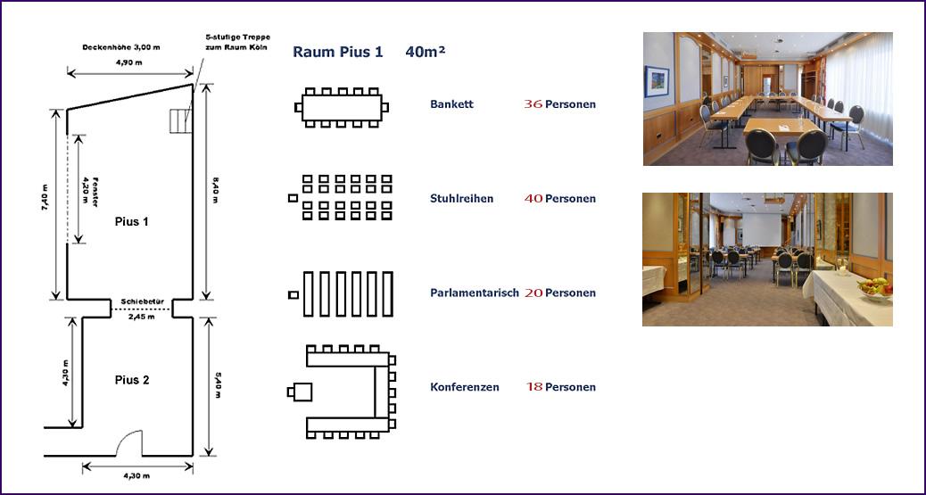 Bestuhlungsmöglichkeiten  Raum Pius 1 im Hotel Imperial Köln