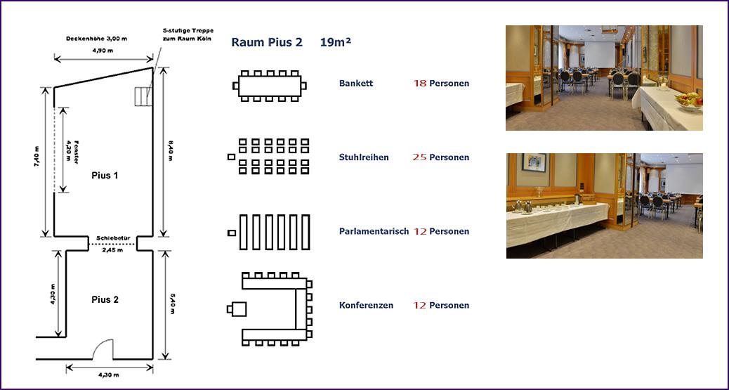 Bestuhlungsmöglichkeiten  Raum Pius 1 im Hotel Imperial
